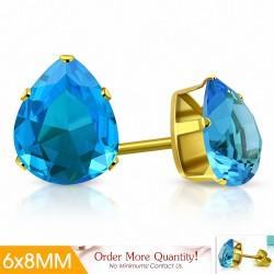 6x8mm |Boucles d'oreilles poire / goutte d'eau en acier inoxydable doré avec pinces / larmes en doré  bleu ciel / aigue-marine