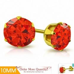 10mm |Boucles d'oreille rondes en acier inoxydable doré avec chaîne en forme de griffe avec zircon orange (paire)
