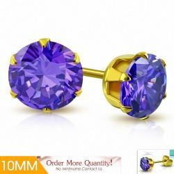 10mm |Boucles d'oreille rondes en acier inoxydable doré avec rondelles et goupilles rondes avec violet / violet CZ (paire)