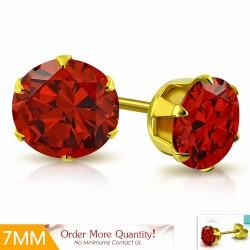 7mm |Boucles d'oreille rondes en acier inoxydable doré avec rondelles et clouss rond - Siry Red CZ (paire)