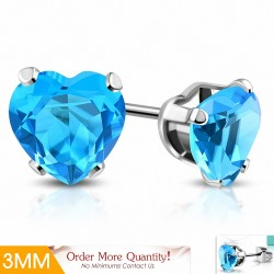 3mm |Boucles d'oreilles en forme de cœur en forme de coeur en acier inoxydable avec cœur bleu / bleu aigue-marine (paire)