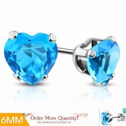 6mm  Boucles d'oreilles en forme de coeur en forme de coeur en acier inoxydable avec coeur - Bleu ciel / aigue marine CZ