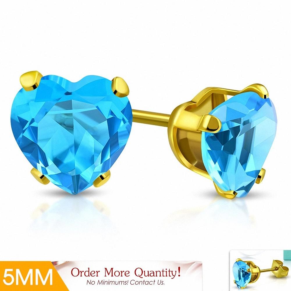 5mm |Boucles d'oreille en forme de coeur en forme de coeur en acier inoxydable doré avec coeur / Aigue-marine CZ (paire)
