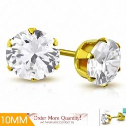 10mm |Boucles d'oreille rondes en acier inoxydable doré avec rondelle et serti de diamants (paire)