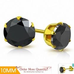 10mm |Boucles d'oreille rondes en acier inoxydable doré avec rondelles et serti de zircons cubiques (paire)