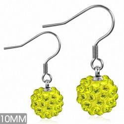 10mm |Boucles d'oreilles à crochet long Shamballa en acier inoxydable Argil Disco Ball avec CZ jaune (paire)
