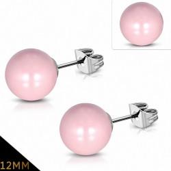 12mm  Boucles d'oreilles en perles de fausse perle avec résine rose en acier inoxydable (paire)