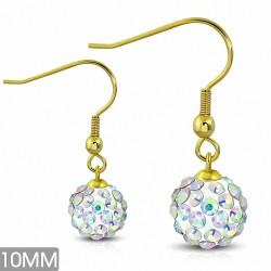 10mm |Boucles d'oreilles à crochet long Shamballa en acier inoxydable doré avec boucle Disco Ball avec Aurore Boreale