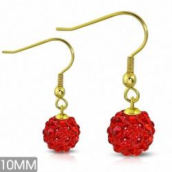 10mm |Boucles d'oreilles à crochet long Shamballa acier inoxydable couleur argent avec boule disco rouge