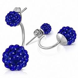 6mm & 10mm Balls Shamballa Argil Disco avec Bleu Capri CZ |Boucles d'oreilles double face en acier inoxydable (paire)