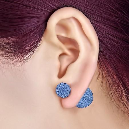 8mm & 14mm Balles Argil Disco Shamballa avec Saphir Bleu CZ |Boucles d'oreilles clous double face en acier inoxydable