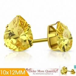 10x12mm |Boucles d'oreilles clous en acier inoxydable doré avec pendentif en forme de larme avec CZ jaune (paire)