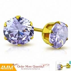 4mm |Boucles d'oreille rondes en acier inoxydable doré avec rondelles et goupilles rondes avec violet / violet CZ (paire)