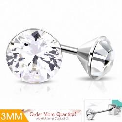 3mm |Boucles d'oreille rondes en acier inoxydable avec cristaux Stellux clairs (paire)