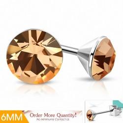 6mm |Boucles d'oreille rondes en acier inoxydable serti de lunette sertie de CZ (pêche)