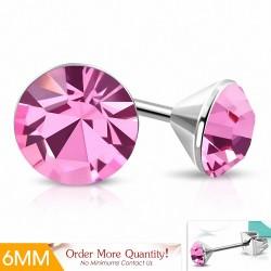 6mm |Boucles d'oreille rondes en acier inoxydable serti de lunette sertie de  Rose pâle CZ (paire)