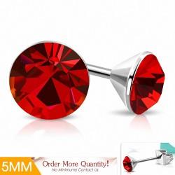 5mm |Boucles d'oreille rondes en acier inoxydable serti de lunette sertie de diamants et d'une jacinthe CZ (paire)