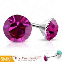 5mm |Boucles d'oreille rondes en acier inoxydable avec sertissage lunette sertie de rose CZ (paire)