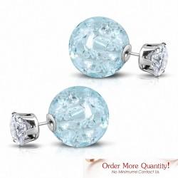Boule en cristal bleu clair de 8 mm et de 15 mm CZ transparent |Boucles d'oreilles clous double face en acier inoxydable