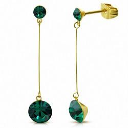 Emeraldes rondes en zircone rondes de 4 mm et de 7 mm avec zircons cubiques en acier inoxydable plaqués or (paire)
