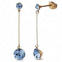 4mm & 7mm Cercle Rond Saphir Bleu CZ  Rose Rose Or Plaqué Couleur En Acier Inoxydable Longue Goutte Boucles D'oreilles (paire)