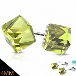 4mm |Boucles d'oreilles clous en acier inoxydable avec Cube Olivine CZ (paire)