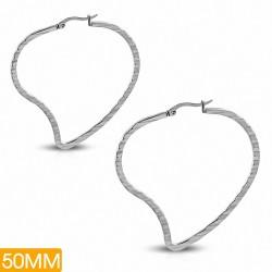 50mm |Boucles d'oreilles clip arrière en forme de coeur d'amour diagonal en acier inoxydable (paire)