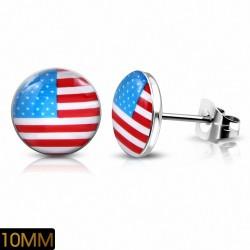 10mm |Drapeau en acier inoxydable des États-Unis Cercle Boucles d'oreilles (paire)