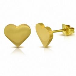 Boucles d'oreilles clous en forme de coeur d'amour en acier inoxydable doré(paire)