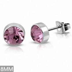 8mm |Boucles d'oreille rondes en acier inoxydable avec lunette sertie de zircons cubiques en acier inoxydable