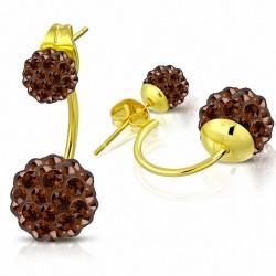 Boules de Shamballa de 6 mm et de 10 mm avec zircon topaze fumée |Boucles d'oreilles à double face en acier  couleur dorée