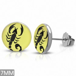 7mm |Boucles d'oreilles à 3 tons en acier inoxydable scorpion signe du zodiaque (paire)
