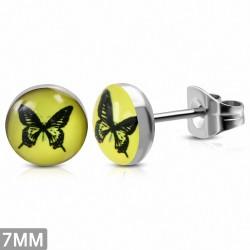 7mm |Boucles d'oreilles clous cercle de papillon en acier inoxydable à 3 tons (paire)