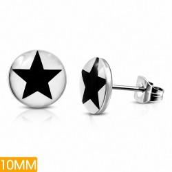 10mm |Boucles d'oreilles clous en acier inoxydable à trois tons acier inoxydable (paire)