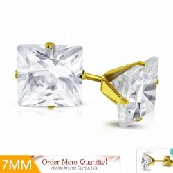 7mm |Boucles d'oreilles carrées en acier inoxydable doré avec plaqué de couleur d'or avec cZ transparent (paire)
