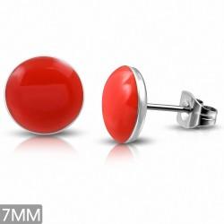 7mm |Boucles d'oreilles clous à cercle rouge mat en acier inoxydable 2 tons (paire)