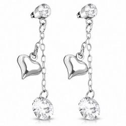 Pendants d'oreilles en acier inoxydable avec pendentif coeur en acier inoxydable avec pendentif en forme de CZ transparent