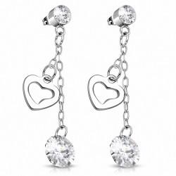 Pendants d'oreilles à breloques en acier inoxydable avec coeur d'amour ouvert en acier inoxydable avec cz incolore (paire)