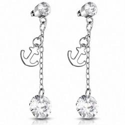 Boucles d'oreilles pendantes avec breloque ancre marine en acier inoxydable avec  Clear CZ (paire)