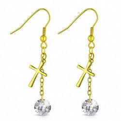 Boucle d'oreille crochet long en acier inoxydable doré avec croix latine en forme de croix en or doré (paire)