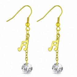 Boucle d'oreille avec une note musicale en acier inoxydable doré zircon transparene (paire)