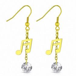 Boucle d'oreille vec une note musicale unique en acier inoxydable doré CZ transparente (paire)