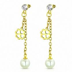 Boucle d'oreille pendentif en forme de fleur de trèfle en acier inoxydable doré avec perle blanche et CZ incolore (paire)