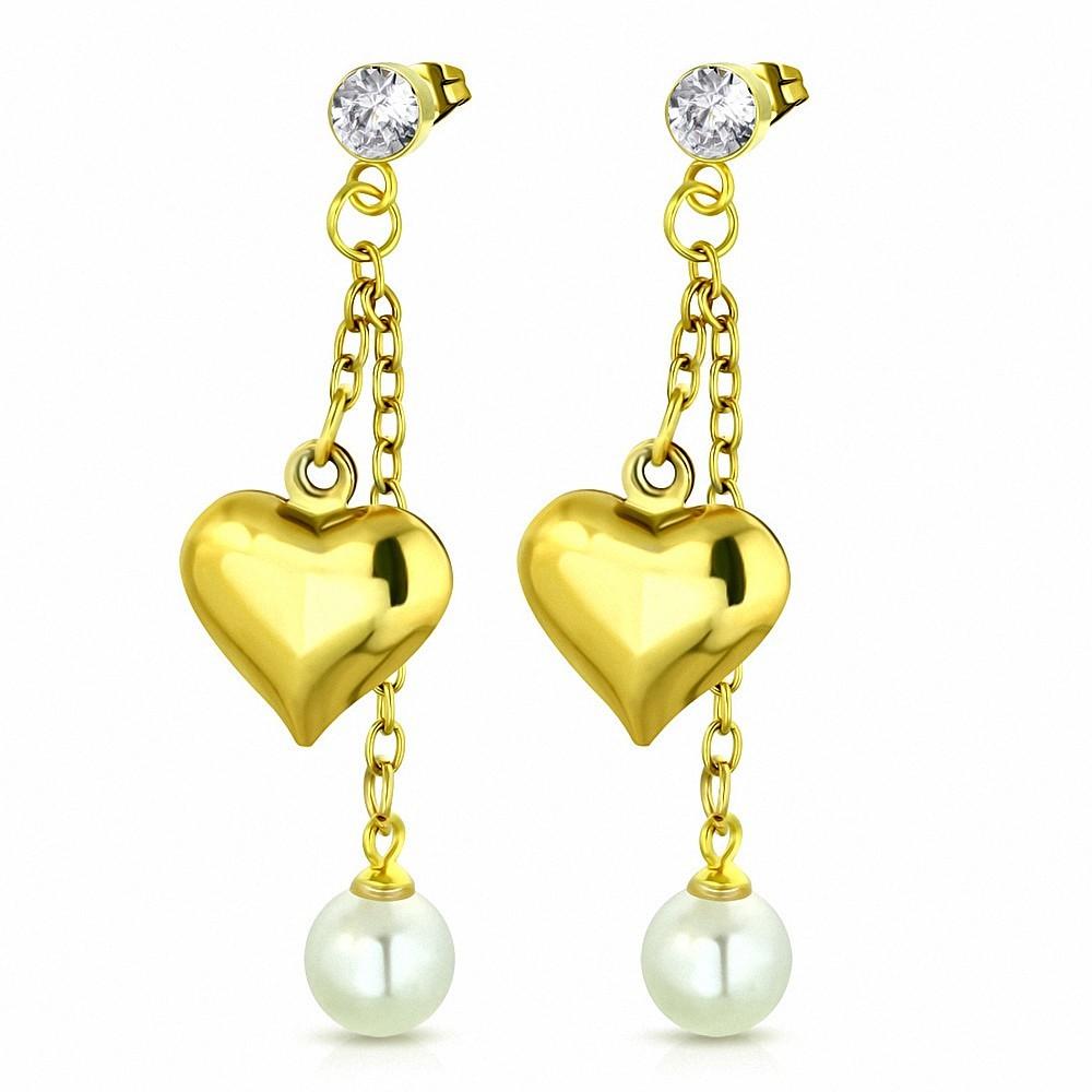 Boucles d'oreilles pendantes à breloques en forme de coeur en acier inoxydable doré avec perle blanche et CZ incolore (paire)