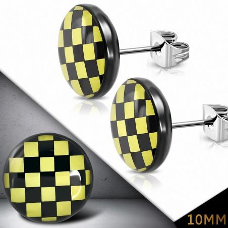 10mm |Boucles d'oreilles clous cercle à grille / damier en acier inoxydable à 3 tons (paire)