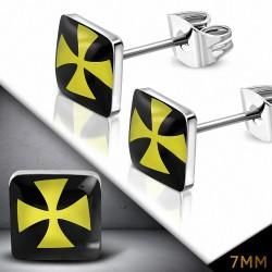 7mm |Boucles d'oreilles carrées croisées à trois tons en acier inoxydable (paire)