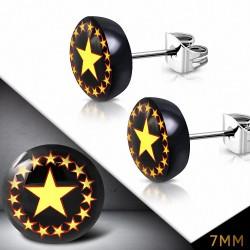 7mm |Boucles d'oreilles clous en acier inoxydable à quatre tons avec cercle Pentagram étoiles (paire)
