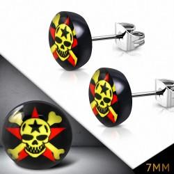7mm |Boucles d'oreilles clous avec crâne en forme de tête de pirate en acier inoxydable à quatre tons