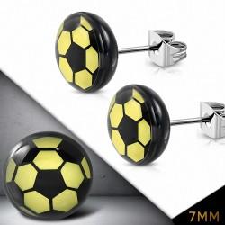 7mm |Boucles d'oreilles clous Cercle de Football Sport en acier inoxydable à 3 tons (paire)