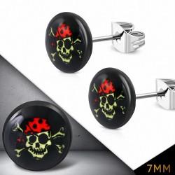7mm |Boucles d'oreilles clous Evil Skull Circle en acier inoxydable à quatre tons (paire)